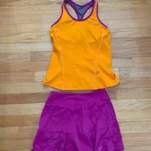 Purple and Organge Nike Dri-Fit Tennis Set